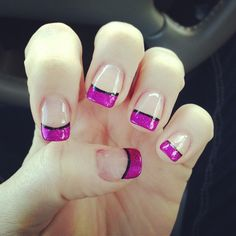Magenta French Tip Nails