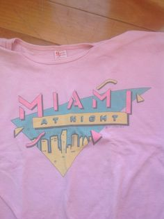 Vintage 1980s Miami Cropped T-Shirt size M pink by historyofagirl