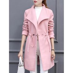 26.03$  Buy here - http://di7si.justgood.pw/go.php?t=203899403 - Drawstring Lapel Coat with Snap Buttons