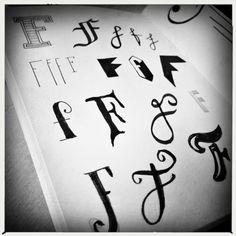 F, kleine letters, handlettering