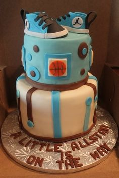 Sports Themed Baby Shower Cake.. love this just different colors