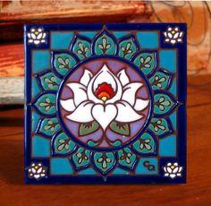 "Handmade Spark - cquinn21 - 6""x6"" Hand Glazed Decorative Tile Coaster Trivet Lotus Mandala"