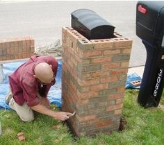 Brick Mailbox: How to build a brick mailbox. for all you kids out there who like smashing country road mailboxes, I might be building this someday. Mailbox Garden, Diy Mailbox, Mailbox Landscaping, Mailbox Post, Mailbox Ideas, Landscaping Ideas, Mailbox Designs, Mulch Landscaping, Diy Projects To Try