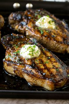 The best steak marinade with grilled steaks topped with herb butter. Steak Marinade For Grilling, Steak Marinade Recipes, Grilled Steak Recipes, Marinated Steak, How To Grill Steak, Beef Recipes, Cooking Recipes, Grilled Meat, Grilled Steaks
