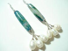 Emerald Big Agate Pearls Earrings Modern Green Agates and