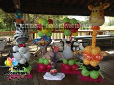 Madagascar Balloon sculptures and party decorations. Extreme Decorations Miami, FL 786-663-8198 extremedecorations@gmail.com