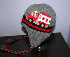 Fire Truck Earflap Hat - Black, Grey and Red Felt Applique Crochet Hat by TrendyMunchkins on Etsy https://www.etsy.com/ca/listing/209516031/fire-truck-earflap-hat-black-grey-and