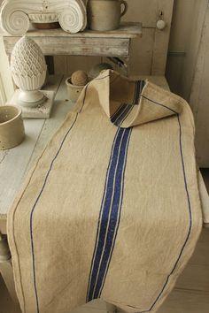 Vintage Grain Sack Feedsack Feedbag Old Linen Hemp Heavy Twill Weave Bag Blue   eBay