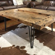 Tortured Reclaimed Distressed Industrial Wood Desk with 58 rebar hairpin legs