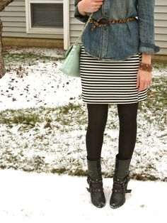 belted chambray w/ striped skirt and boots. Been looking forever for a cute way to wear my striped skirt!