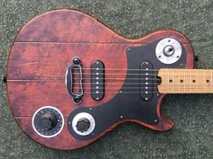 Dismal Ax Barnstormer Electric Guitar, New, Red Custom Electric Guitars, Guitar Painting, Guitar Building, Milk Paint, Cool Guitar, Musical Instruments, Acoustic, Rock, Cool Stuff
