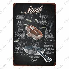 Chalk Menu, Chalk Wall, Western Restaurant, Vintage Recipes, Vintage Food, Vintage Menu, Vintage Kitchen, Beef Steak, Skillet Steak