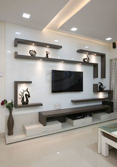 TV wall unit Designs is an essential part while designing your living room, Bedroom or tv room. Tv Stand Designs For Living Room have to be. Living Room Partition Design, Living Room Tv Unit Designs, Ceiling Design Living Room, Home Room Design, Tv Wall Unit Designs, False Ceiling Living Room, Modern Living Room Design, Tv Wall Ideas Living Room, Bedroom Tv Unit Design