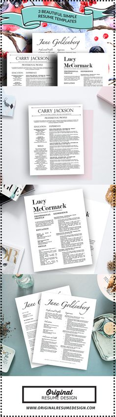 3 Beautiful resume designs with matching cover letters for Microsoft Word - Instant Download Templates