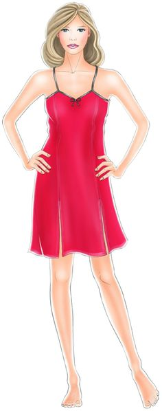 Princess Seams, could be made for a dress-slip    Nightdress  - Sewing Pattern #5241 Made-to-measure sewing pattern from Lekala with free online download.