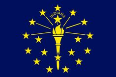 The flag of Indiana   Indiana's flag has a blue background with a torch in the center, the torch is surrounded by nineteen stars, thirteen representing the original colonies, five the next five states, and one Indiana. Adopted by the state of Indiana on May 31, 1917. It was the state's first official flag and has remained unchanged since then except for the creation of a statute to standardize the production of the flag.