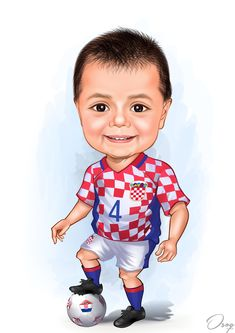 A little soccer player is smiling and wearing the World Cup Soccer Croatian Uniform. The ball under his feet is checkered red and white. Cartoon Logo, Cartoon Design, Baby Cartoon, Different Blue Colors, Soccer Baby, Birthday Cartoon, Kids Blocks, Brown Teddy Bear, Caricature Artist