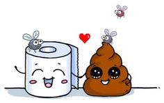 Poop & Toilet Paper are such a cute mach right Kawaii Doodles, Cute Kawaii Drawings, Kawaii Art, Cartoon Drawings, Easy Drawings, Pictures To Draw, Cute Pictures, Dibujos Cute, Cute Cartoon