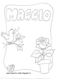 Ecco i miei disegni sui mesi dell'an n o ..  Potete utilizzare queste schede per realizzare un libretto...come copertine per quaderni ... o... Coloring Sheets, Coloring Books, Coloring Pages, Creta, Preschool Curriculum, Borders And Frames, School Organization, Months In A Year, Cover Pages