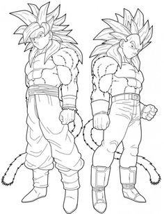 dragon ball z goku and vegeta turning to super saiyan 4 coloring page - Super Saiyan Gohan Coloring Pages