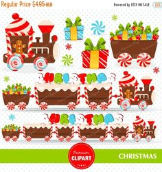 """Christmas sweets clipart set! Incredibly useful for party invitations, cards, christmas scrapbooking, custom party invitations, greeting cards and anything else you can think of! --------------------------------- CONTINUE SHOPPING HERE https://www.etsy.com/shop/Premiumclipart ---------------------------------  * YOU WILL RECEIVE: --------------------------------- - This collection includes 17 clipart elements - Each clipart saved separately in 6""""x6"""" 300 dpi PNG files, tran..."""