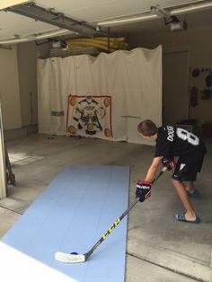 Curtain-Tracks products used to create a hockey back stop in a garage. Hockey Shot, Hockey Drills, Youth Hockey, Hockey Puck, Ice Hockey, Hockey Games, Hockey Workouts, Hockey Training, Home