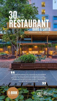 30 Best Restaurant Interior design in India is a collection of amazing Restaurant + Cafes + Bars design around the country, with this E-Book we believe to provide design inspiration to the readers. Also, the e.book is a well-curated design from the most innovative and established design firms. Restaurant Interior Design, Cafe Interior, Stone Walkway, Lily Pond, Exposed Brick, Cafe Bar, Design Firms, Restaurant Bar, Planters
