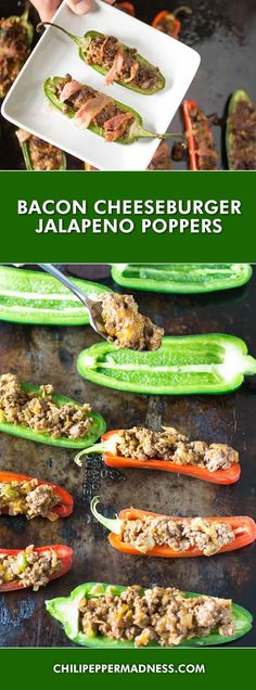 Bacon Cheeseburger Jalapeno Poppers - A jalapeno poppers recipe of sliced jalapeno peppers stuffed with seasoned ground beef and cheddar cheese, then wrapped in bacon and broiled until crispy. These are the perfect appetizer.