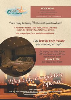 Come visit Club Cocomo in the sunny Harties - less than an hour's drive from Johannesburg, Pretoria, Rustenburg. We offer warm Cocktails next to the caribbean heated pool (32 degrees). Melt away all stress in a jacuzzi-spa bath or enjoy a cup of hot chocolate under the cozy duvet. Warm Cocktails, Super King Size Bed, Spoil Yourself, Heated Pool, Pretoria, Jacuzzi, Hot Chocolate, Caribbean, Duvet