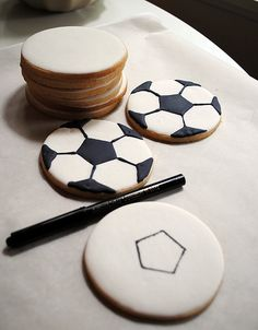 Soccer ball cookie tutorial