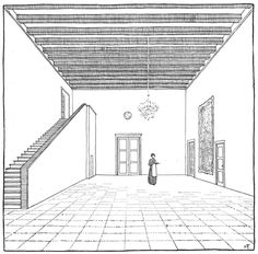 Tessenow'S drawings are immediatly recognizable for being straightforward and yet precise in the description of a building or a space. Interior Architecture Drawing, Architecture Sketchbook, Interior Rendering, Classical Architecture, Interior Design, Walter Gropius, Hans Poelzig, Aldo, Nordic Classicism
