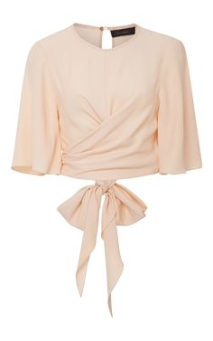 This **Ellery** top features a self-tie wrap front and relaxed flutter sleeves.