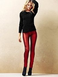 From pinterest.com ~ Red Leggings