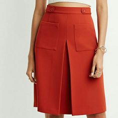 NWOT {Forever 21} A-Line Pocket Skirt -Color: burnt orange/rust -60% polyester, 33% rayon, 7% spandex/elastane  -Hand wash -Never worn, new, without tag (I labeled it as NWT for exposure purposes) ⭐HP 5.8.16 Style Staples ⭐HP 8.17.16 Casual Cool  📷 by @alinasher & forever21.com Forever 21 Skirts A-Line or Full