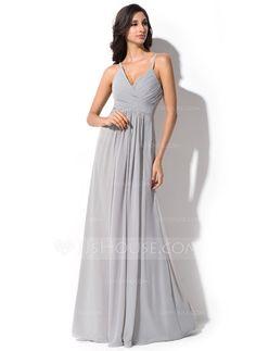 [NZ$ 163.41] A-Line/Princess V-neck Floor-Length Chiffon Bridesmaid Dress With Ruffle (007051369)