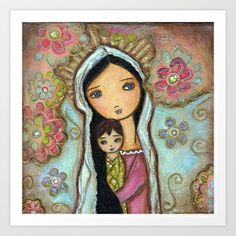 Madonna with Child and Flowers by Flor Larios
