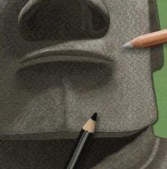 How to draw… Easter Island heads | Children's books | The Guardian Sharp Pencils, Deep Set Eyes, Easter Island, White Pencil, Head & Shoulders, Eye Shapes, Pencil Illustration, Paper Texture, The Guardian