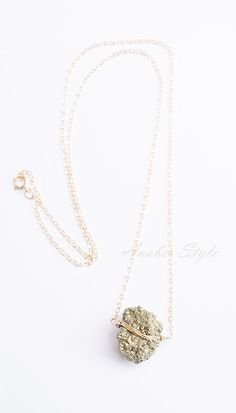 Natural Pyrite Raw Necklace 14Kt Gold Filled by AnaberJewelry