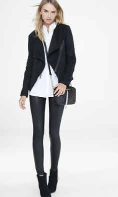 black faux suede asymmetrical moto jacket from EXPRESS