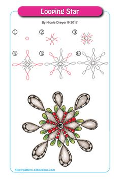 Looping Star by Nicole Dreyer Zentangle Drawings, Doodles Zentangles, Doodle Drawings, Easy Zentangle Patterns, Zen Doodle Patterns, Doodle Borders, Tangle Doodle, Tangle Art, Flower Doodles