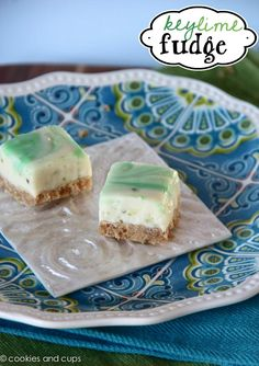 Key Lime Fudge-I will warn you.  This stuff is basically crack-fudge.  I'm not kidding.  The chance of you having high blood sugar after making and inevitable eating the entire pan is imminent.  Real talk.
