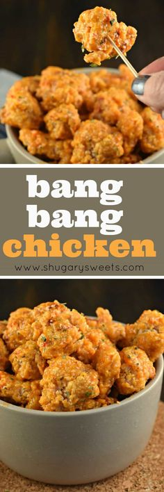 Bang Bang Chicken - an easy, weeknight dinner idea with a tangy, yet sweet sauce! This recipe calls for baking NOT frying the chicken, easy clean up! : shugarysweets