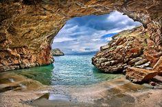 Sea cave next to Limnionas beach, close to Mesochoria village, Evia island, Greece. Sea Cave, Sailing Cruises, Cruise Destinations, Emerald Isle, Most Beautiful Beaches, Athens Greece, Beach Look, Greek Islands, Portal
