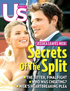 Jessica Simpson and Nick Lachey pose on the December 12, 2005 cover of 'Us Weekly' magazine