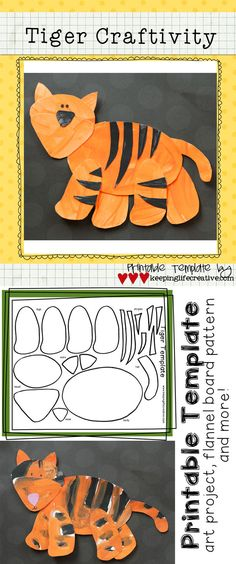 Crafts for Kids | Download and print this simple tiger template for an adorable art project, or pattern for your flannel board and bulletin board figures. $1