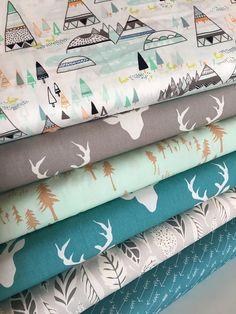 Hello Bear Deer fabric Fox fabric Forest fabric Hygge