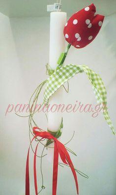Handmade tulip made of fabric and felt, on a candle! #paninaoneira