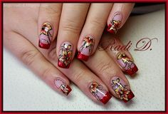 It`s all about nails: Red glitter french with one stroke flowers http://radi-d.blogspot.com/2014/12/red-glitter-french-with-one-stroke.html