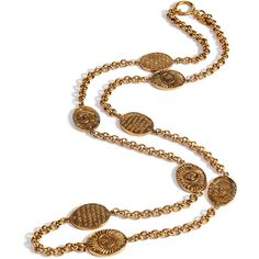 CHANEL VINTAGE JEWELRY Golden 80s Oval Sun Long Necklace ❤ liked on Polyvore