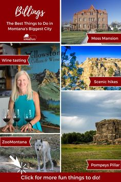 Best things to do in Billings on your Montana road trip or when you fly into the Billings Airport. As the largest city in Montana, Billings is full of fun things to do and see during your Billings Montana Vacation. Be sure to visit the historic Moss Mansion Billings, enjoy Montana hiking, and soak up Montana history. Just a short drive from Downtown Billings, you can climb Pompeys Pillar and take in the view that Lewis and Clark enjoyed many years ago. #billings #montana #US #USA #USTravel